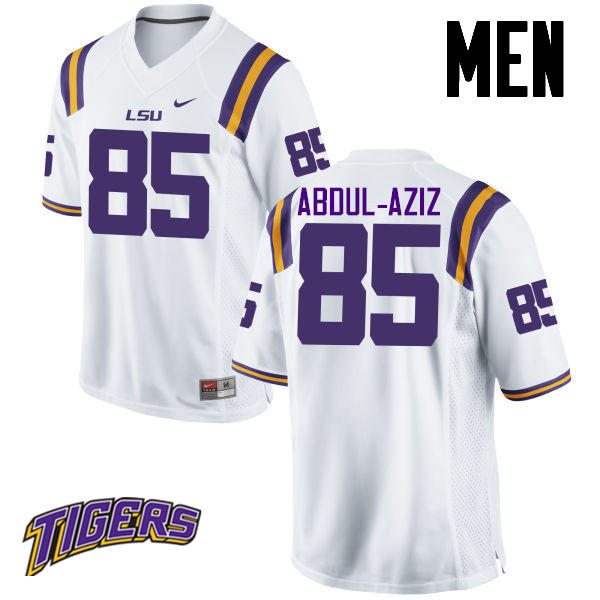 Men's #85 Jamil Abdul-Aziz LSU Tigers College Football Jerseys-White