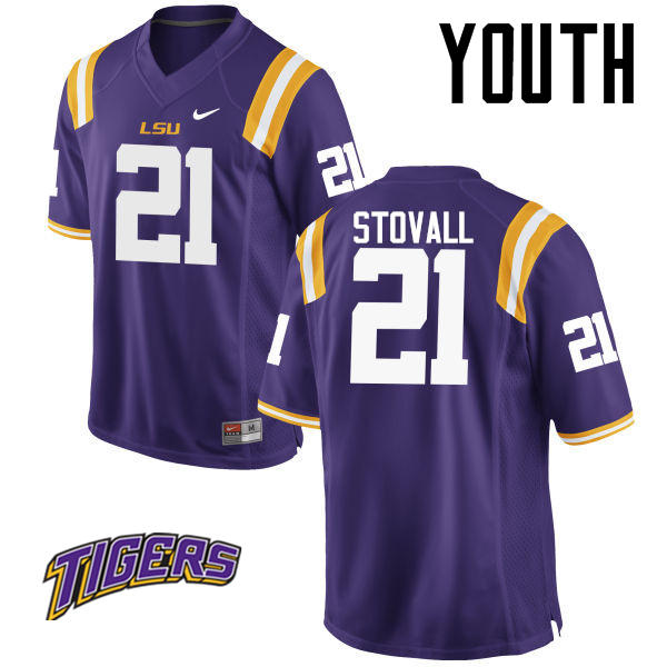 Youth #21 Jerry Stovall LSU Tigers College Football Jerseys-Purple