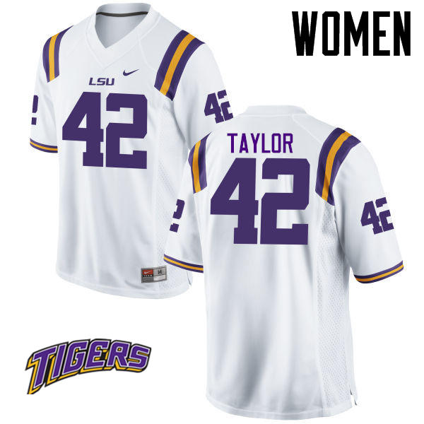 Women's #42 Jim Taylor LSU Tigers College Football Jerseys-White