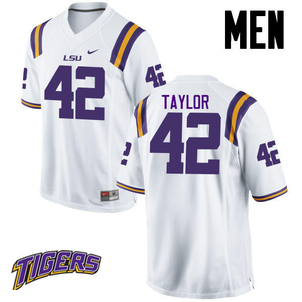 Men's #42 Jim Taylor LSU Tigers College Football Jerseys-White