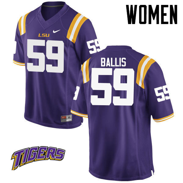 Women's #59 John Ballis LSU Tigers College Football Jerseys-Purple