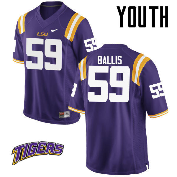 Youth #59 John Ballis LSU Tigers College Football Jerseys-Purple