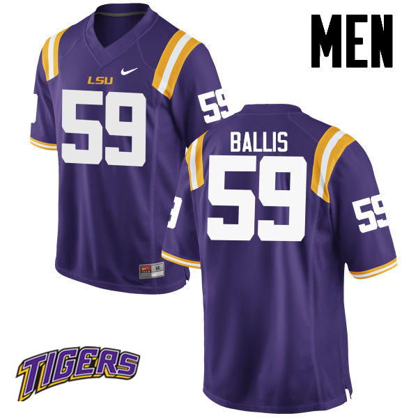 Men's #59 John Ballis LSU Tigers College Football Jerseys-Purple