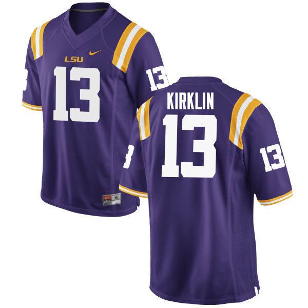 Men #13 Jontre Kirklin LSU Tigers College Football Jerseys Sale-Purple