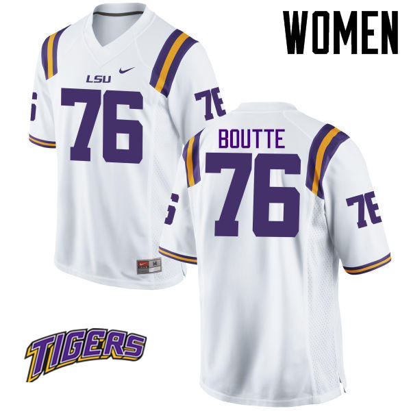 Women's #76 Josh Boutte LSU Tigers College Football Jerseys-White