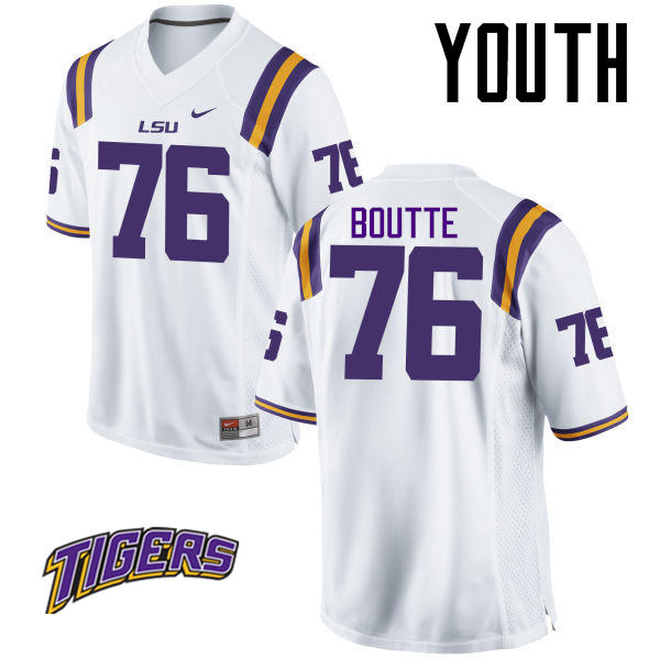Youth #76 Josh Boutte LSU Tigers College Football Jerseys-White
