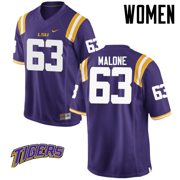 Women's #63 K.J. Malone LSU Tigers College Football Jerseys-Purple