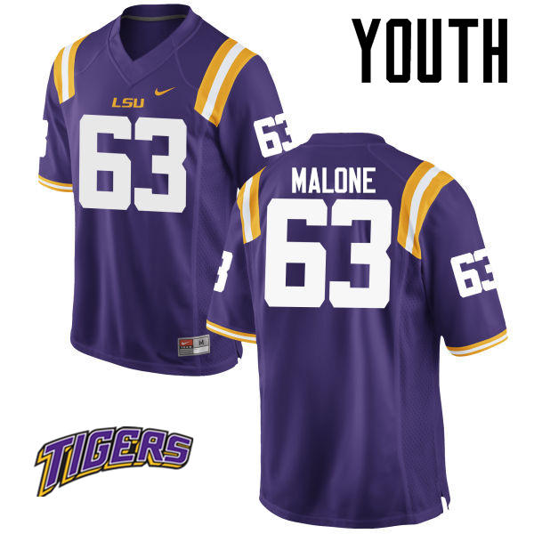 Youth #63 K.J. Malone LSU Tigers College Football Jerseys-Purple