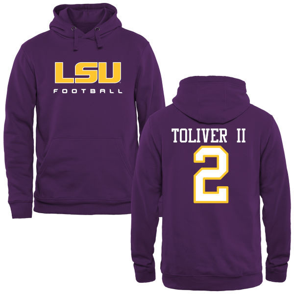 Men's #2 Kevin Toliver II LSU Tiges College Football Name&Number Hoodies-Purple