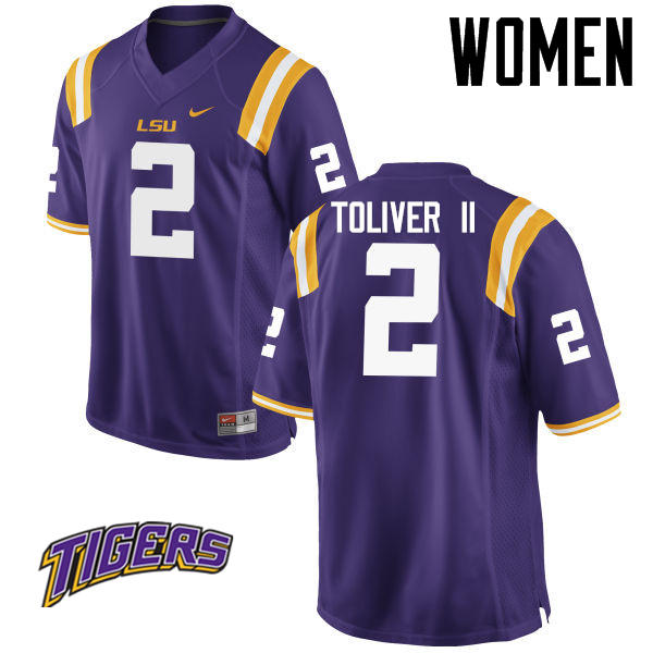 Women's #2 Kevin Toliver II LSU Tigers College Football Jerseys-Purple
