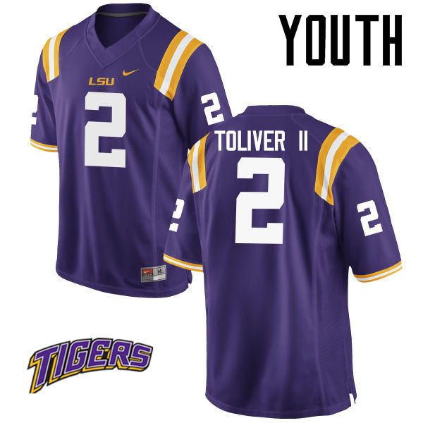 Youth #2 Kevin Toliver II LSU Tigers College Football Jerseys-Purple