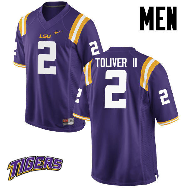 Men's #2 Kevin Toliver II LSU Tigers College Football Jerseys-Purple