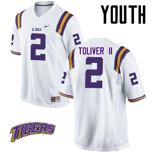 Youth #2 Kevin Toliver II LSU Tigers College Football Jerseys-White