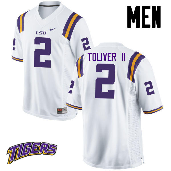 Men's #2 Kevin Toliver II LSU Tigers College Football Jerseys-White