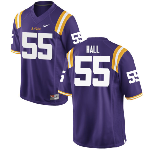 Men #55 Kody Hall LSU Tigers College Football Jerseys Sale-Purple