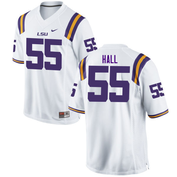 Men #55 Kody Hall LSU Tigers College Football Jerseys Sale-White