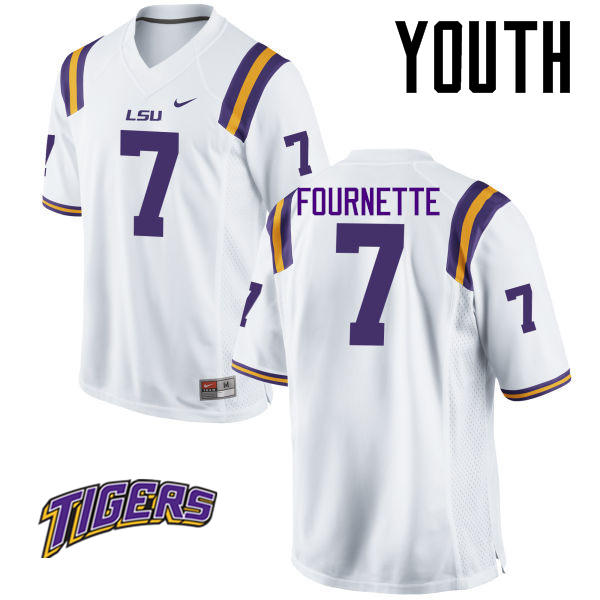 Youth #7 Leonard Fournette LSU Tigers College Football Jerseys-White