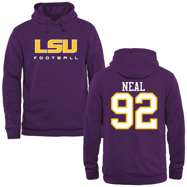 Men's #92 Lewis Neal LSU Tiges College Football Name&Number Hoodies-Purple