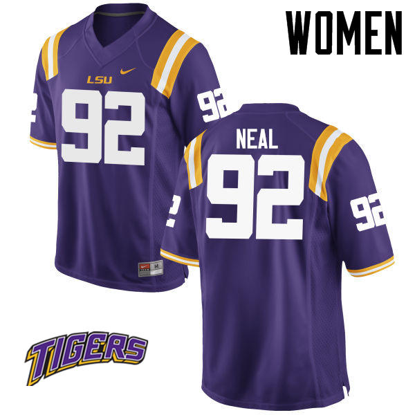 Women's #92 Lewis Neal LSU Tigers College Football Jerseys-Purple