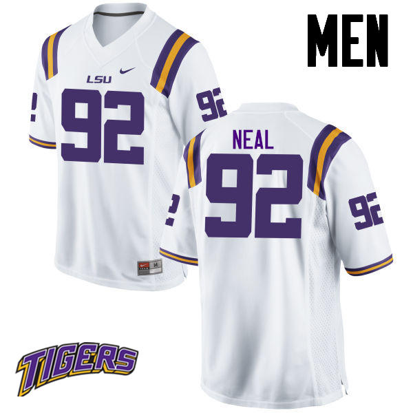 Men's #92 Lewis Neal LSU Tigers College Football Jerseys-White