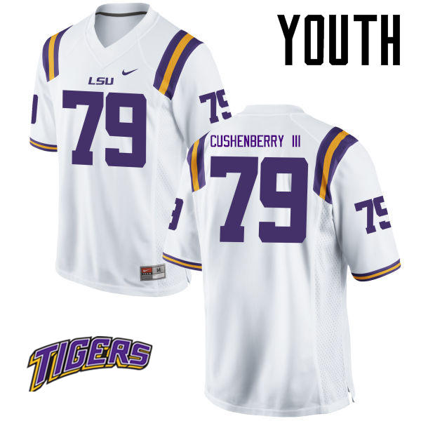 Youth #79 Lloyd Cushenberry III LSU Tigers College Football Jerseys-White