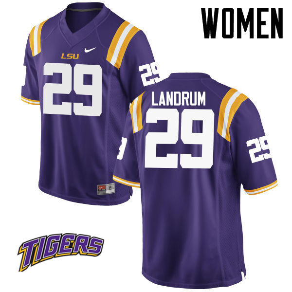 Women's #29 Louis Landrum LSU Tigers College Football Jerseys-Purple