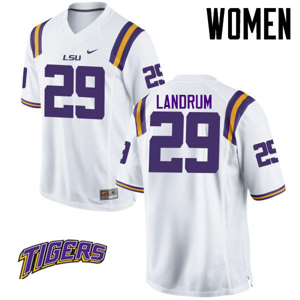 Women's #29 Louis Landrum LSU Tigers College Football Jerseys-White