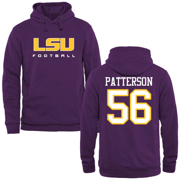 Men's #56 M.J. Patterson LSU Tiges College Football Name&Number Hoodies-Purple