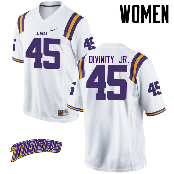 Women's #45 Michael Divinity Jr. LSU Tigers College Football Jerseys-White