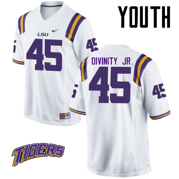 Youth #45 Michael Divinity Jr. LSU Tigers College Football Jerseys-White