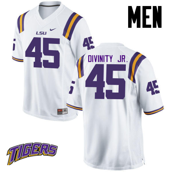 Men's #45 Michael Divinity Jr. LSU Tigers College Football Jerseys-White