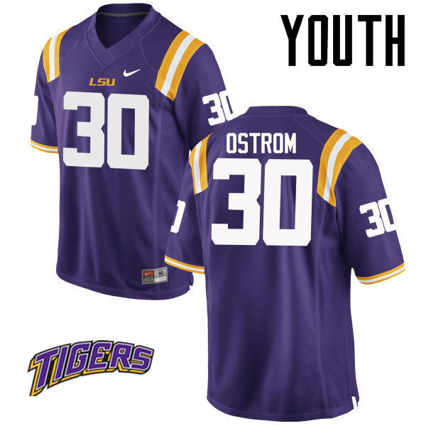 Youth #30 Michael Ostrom LSU Tigers College Football Jerseys-Purple