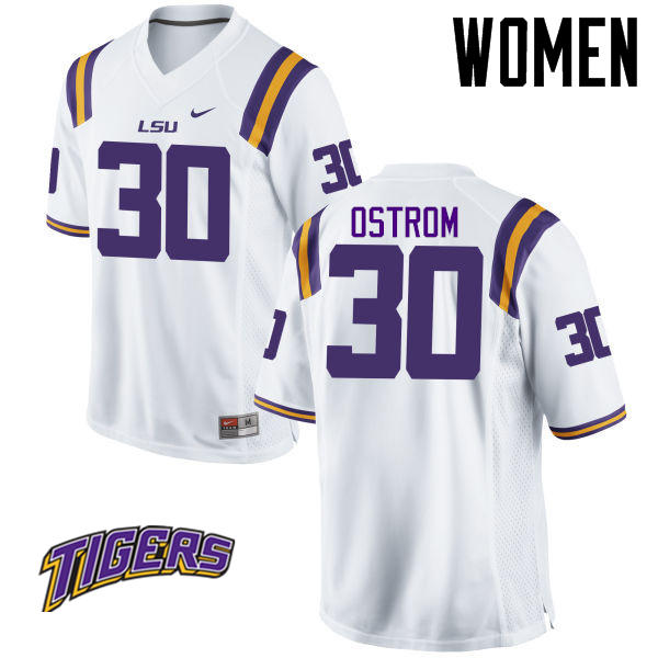 Women's #30 Michael Ostrom LSU Tigers College Football Jerseys-White
