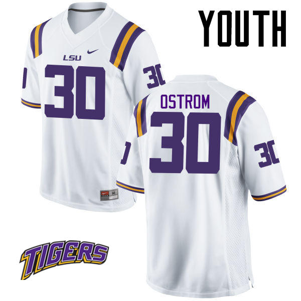 Youth #30 Michael Ostrom LSU Tigers College Football Jerseys-White