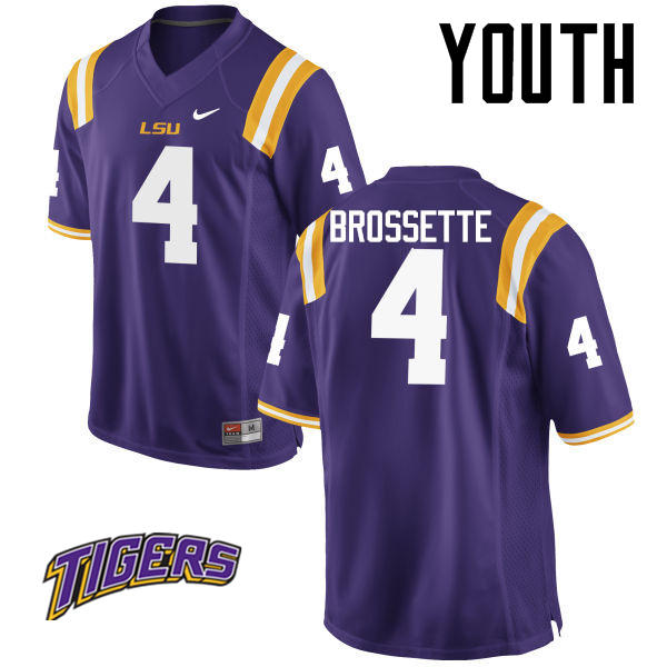 Youth #4 Nick Brossette LSU Tigers College Football Jerseys-Purple