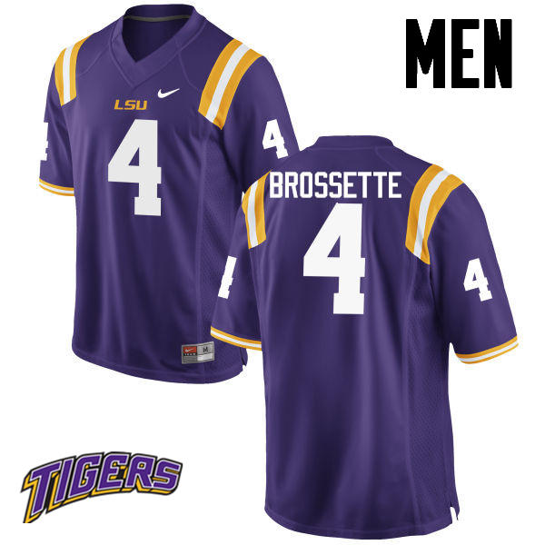 Men's #4 Nick Brossette LSU Tigers College Football Jerseys-Purple
