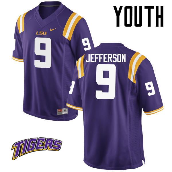 Youth #9 Rickey Jefferson LSU Tigers College Football Jerseys-Purple