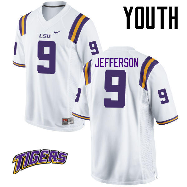 Youth #9 Rickey Jefferson LSU Tigers College Football Jerseys-White