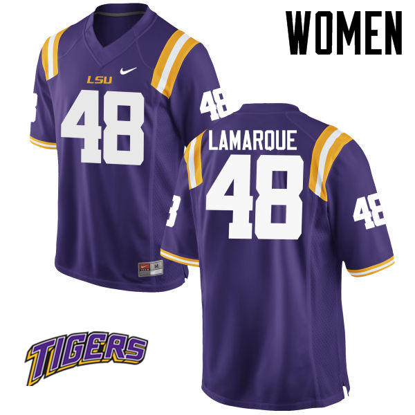 Women's #48 Ronnie Lamarque LSU Tigers College Football Jerseys-Purple