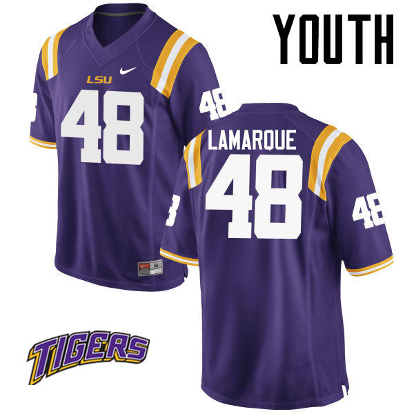 Youth #48 Ronnie Lamarque LSU Tigers College Football Jerseys-Purple