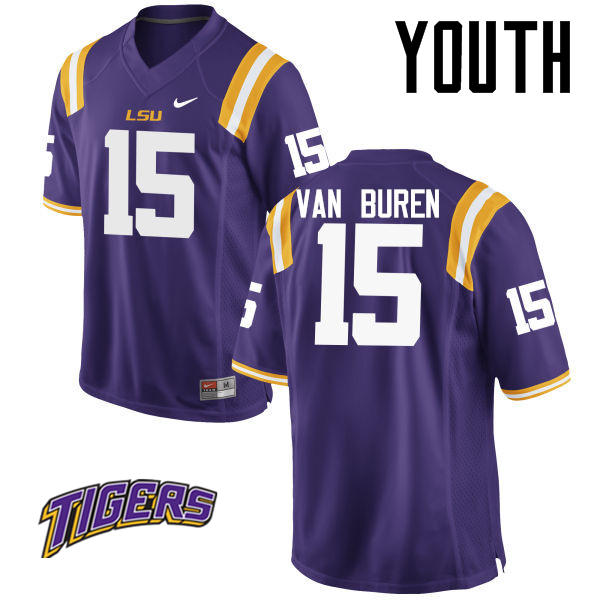 Youth #15 Steve Van Buren LSU Tigers College Football Jerseys-Purple