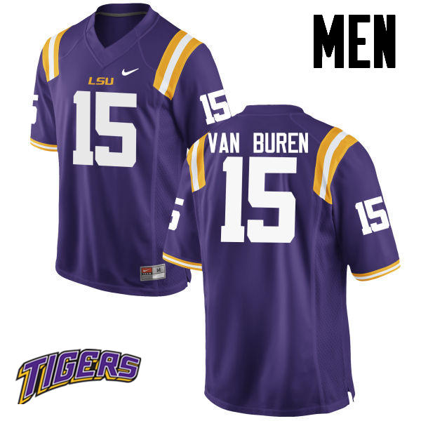 Men's #15 Steve Van Buren LSU Tigers College Football Jerseys-Purple