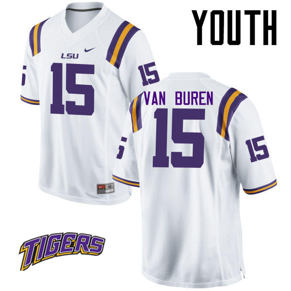 Youth #15 Steve Van Buren LSU Tigers College Football Jerseys-White