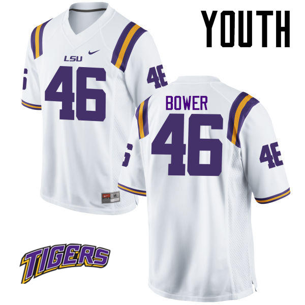 Youth #46 Tashawn Bower LSU Tigers College Football Jerseys-White