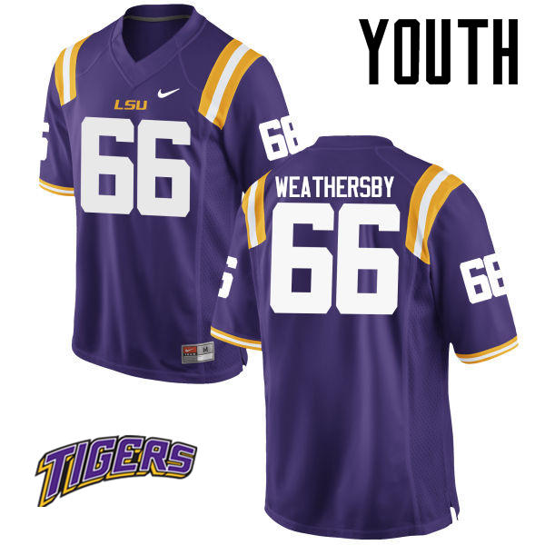 Youth #66 Toby Weathersby LSU Tigers College Football Jerseys-Purple