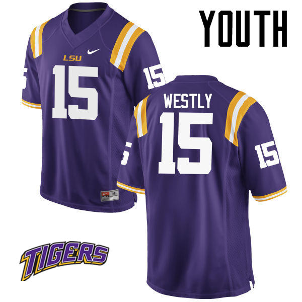 Youth #15 Tony Westly LSU Tigers College Football Jerseys-Purple
