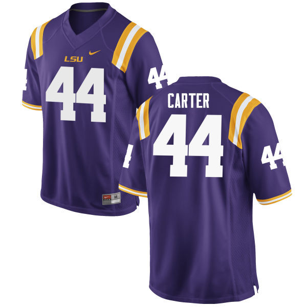 Men #44 Tory Carter LSU Tigers College Football Jerseys Sale-Purple