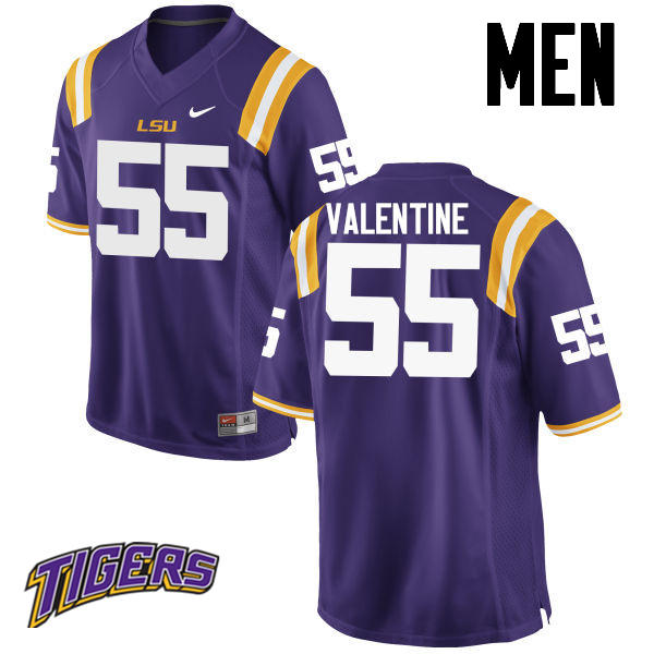 Men's #55 Travonte Valentine LSU Tigers College Football Jerseys-Purple
