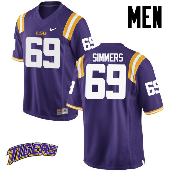 Men's #69 Turner Simmers LSU Tigers College Football Jerseys-Purple