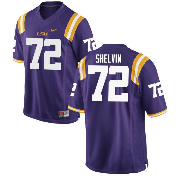 Men #72 Tyler Shelvin LSU Tigers College Football Jerseys Sale-Purple